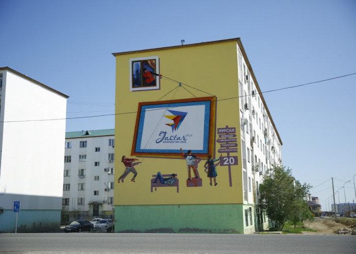 """""""Я рисую,я тебя рисую"""": Рисунками  Street-art  дизайнеры украсили несколько домов Атырау, фото-1"""